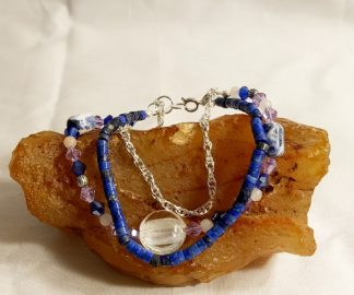 Blue Lapis, Rose Quartz, and Crystal