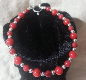 Red Bamboo Coral and silver